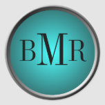 Monogram Envelope Seal :: Teal Sticker