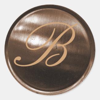 monogram envelope sealer classic round sticker