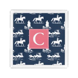 Monogram Equestrian Chinoiserie Navy Blue Arcylic Acrylic Tray
