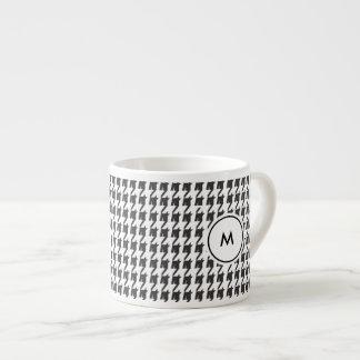 Monogram Espresso Mugs | Black Houndstooth