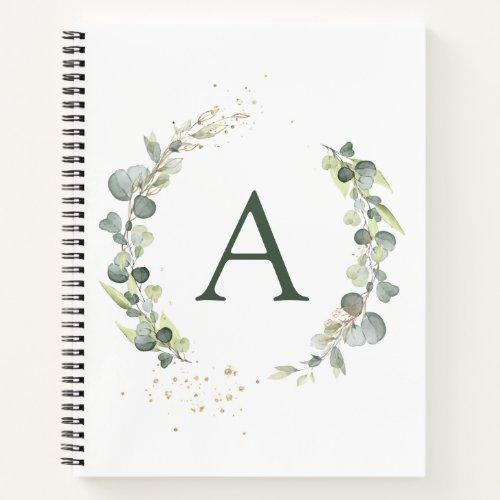 Monogram Eucalyptus Green White Botanical Notebook