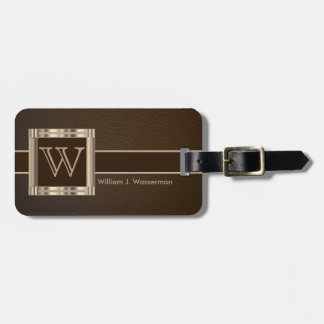 Monogram Executive Brown Leather Style Bag Tag