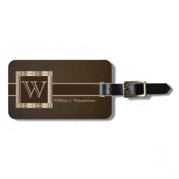 DesignsbyDonnaSiggy Monogram Executive Brown Leather Style Bag Tag