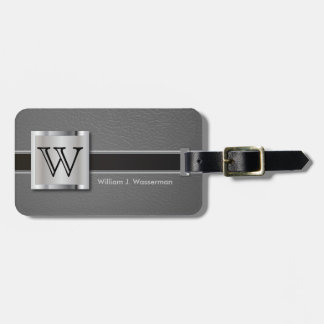 Monogram Executive Gray Leather Style Luggage Tag