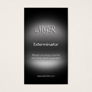 Monogram, Exterminator Pest Control, metal-look Business Card