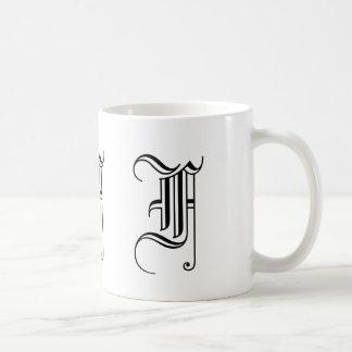 Monogram F Black and White Decorative Coffee Mug