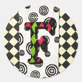 Monogram F Classic Round Sticker