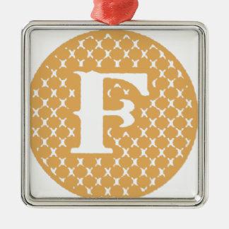 Monogram F Metal Ornament