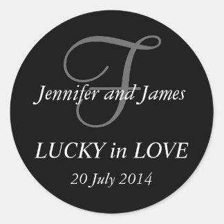 Monogram F Stickers for Weddings Black