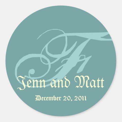 Monogram F Wedding Names Date Blue Cream Seal Round Sticker