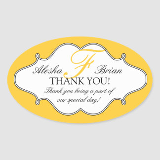 Monogram F Wedding Thank You Stickers Oval