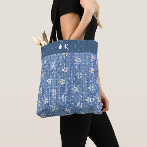 Monogram faded denim look with scattered daisies tote bag