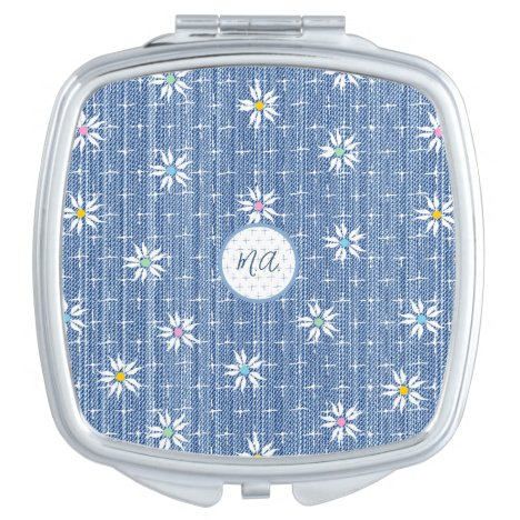 Monogram faded grainy denim look floral compact mirror