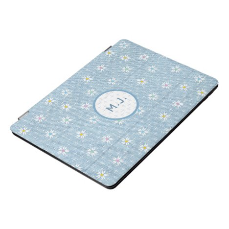 Monogram faded light blue denim look with flowers iPad pro cover