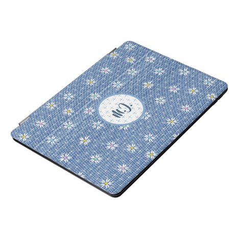 Monogram faded washed denim look with flowers iPad pro cover