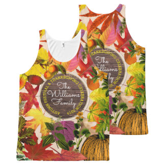 Monogram Fall Autumn Leaves Collage Vintage Wood All-Over-Print Tank Top