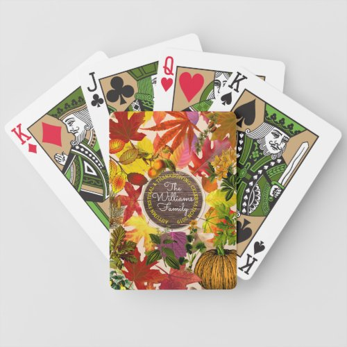 Monogram Fall Autumn Leaves Collage Vintage Wood Bicycle Playing Cards