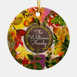 Monogram Fall Autumn Leaves Collage Vintage Wood Ceramic Ornament