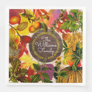 Monogram Fall Autumn Leaves Collage Vintage Wood Paper Dinner Napkin