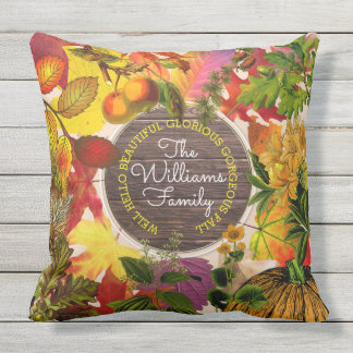 Monogram Fall Autumn Leaves Collage Vintage Wood Throw Pillow