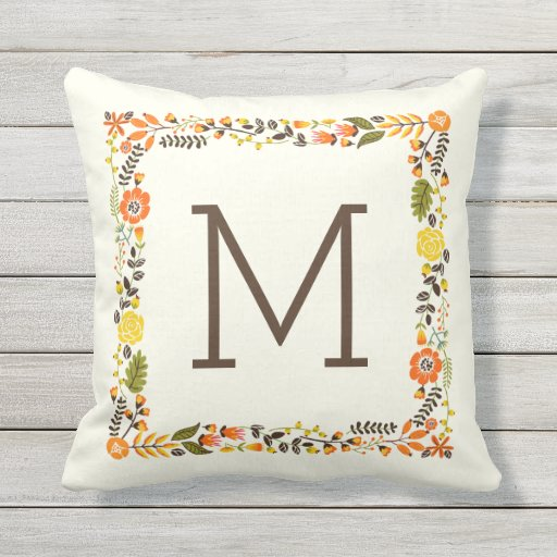 Monogram fall floral border orange yellow outdoor pillow