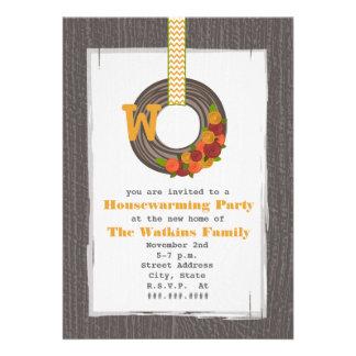 Monogram Fall Wreath Wood Inspired Housewarming Custom Invites