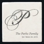 """Monogram Family Coaster Set<br><div class=""""desc"""">Personalized family monogram coaster set.  Include your wedding date and he&#39;ll never have an excuse for forgetting your anniversary again!</div>"""