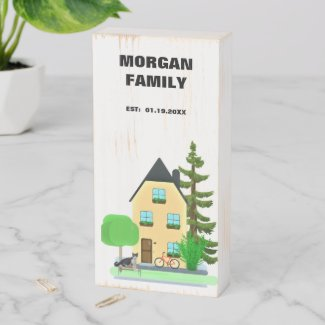 Monogram Family Home with Date/Decorative Wooden Box Sign