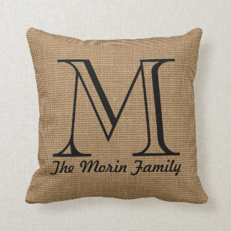 Monogram Family Name Faux Burlap Throw Pillow