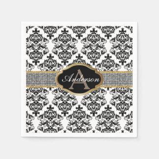 Monogram Family Name Luxury Silver Belt Damask Paper Napkin