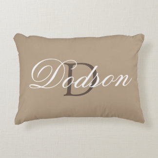 Monogram Family Name Tan Brown Decorative Pillow