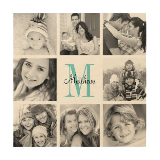 Monogram Family Photo Collage Art Print on Wood