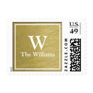 monogram family surname faux gold postage