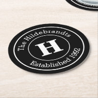 Monogram Family Surname Mod BW Personalized Round Paper Coaster