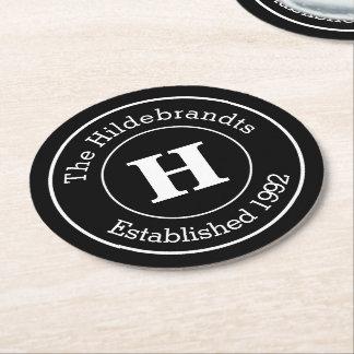 Monogram Family Surname Mod BW Personalized Round Paper Coaster