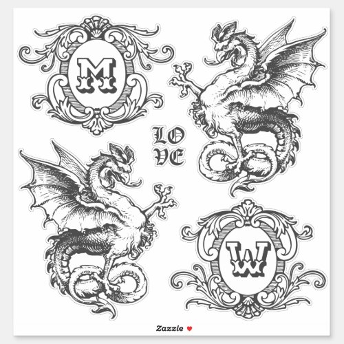 Monogram Fantasy Medieval Dragon Ornate Frames Sticker