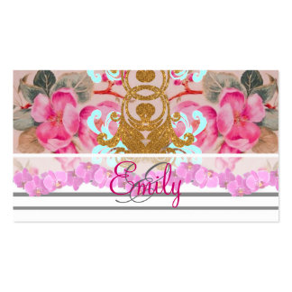 Monogram Fashion Girly Pink Floral Trendy Stripes Double-Sided Standard Business Cards (Pack Of 100)