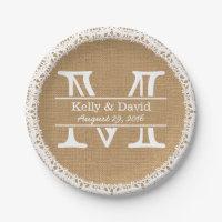 Monogram Faux Burlap & Lace Rustic Wedding Paper Plate
