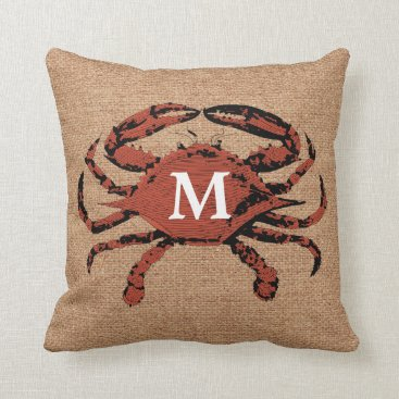 Beach Themed Monogram Faux Burlap Nautical Crab | Unique Pillow