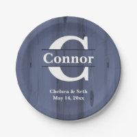 Monogram Faux Butcher Block Blue Wood | Template Paper Plate