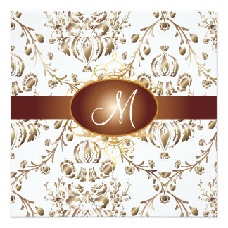 Monogram faux copper damask/white card