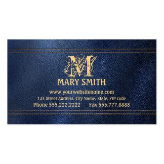Monogram & Faux Denim Boutique Business Card
