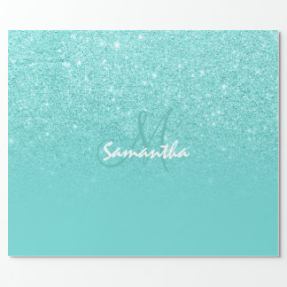 Monogram faux glitter ombre teal color block wrapping paper