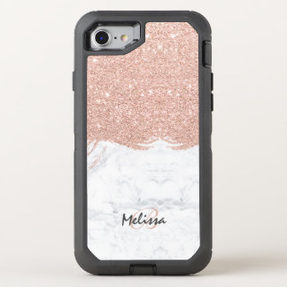 Monogram faux glitter rose gold brushstroke marble OtterBox defender iPhone 7 case