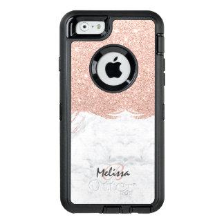 Monogram faux glitter rose gold brushstroke marble OtterBox defender iPhone case