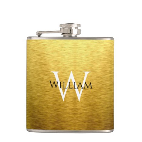 Monogram Faux Gold Foil Black Name White Initial Flask