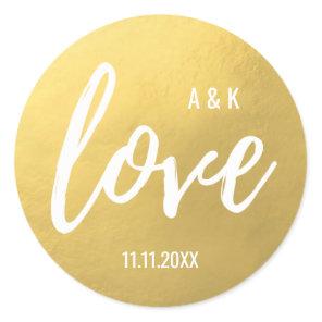 Monogram Faux Gold Foil LOVE Script Black Wedding Classic Round Sticker