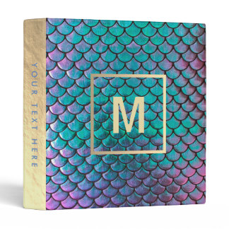 monogram faux iridescent mermaid fish scale 3 ring binder