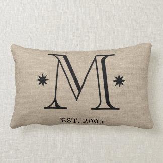 Monogram faux linen burlap rustic chic initial dat pillows