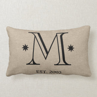 Monogram faux linen burlap rustic chic initial dat throw pillows